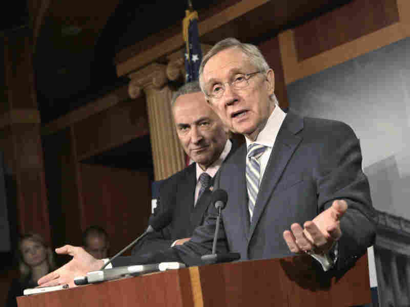 Senate Majority Leader Harry Reid of Nev., accompanied by fellow Democrat Sen. Charles Schumer of New York, said at a news conference Wednesday that he'd wait to see what the House does before bringing his own proposal up for a vote.
