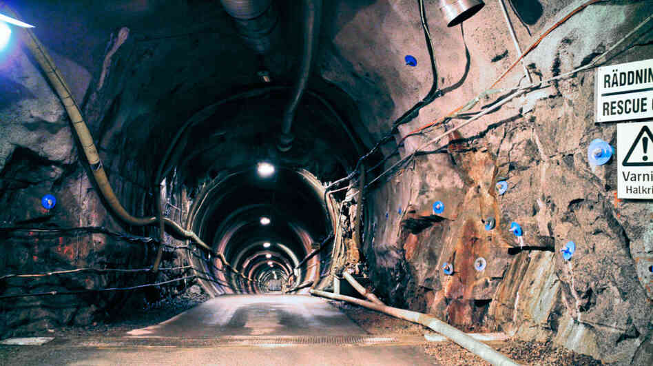 European geologists have conducted experiments in caverns like this one, at the Aspo Hard Rock Laboratory, since 1995. The Swedish nuclear company SKB hopes to store used nuclear fuel more than 1,500 feet below ground.