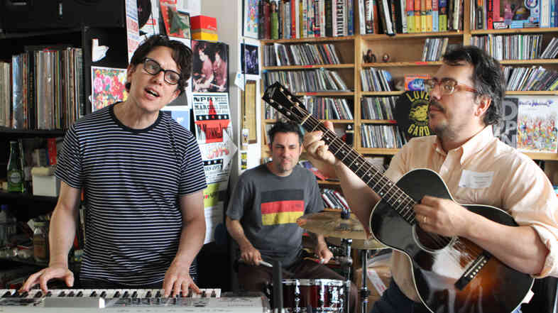 They Might Be Giants perform at a Tiny Desk Concert at the NPR Music offices on July 25, 2011.