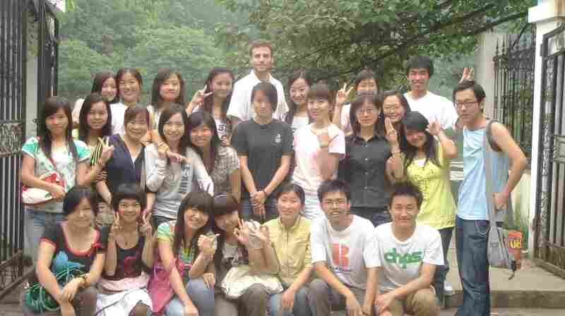 Michael Levy is shown with his students from Guizhou University.