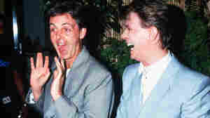 Paul McCartney and David Bowie backstage at Live Aid on July 13, 1985.