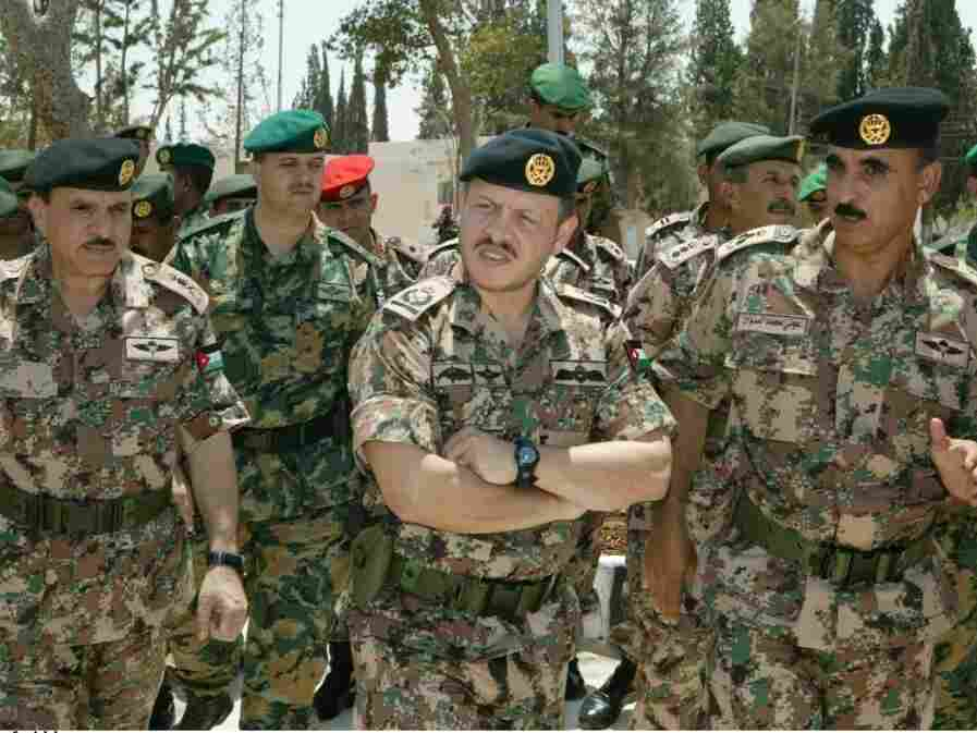 King Abdullah II of Jordan visits the Royal Military College in Guy Cramer's camouflage.