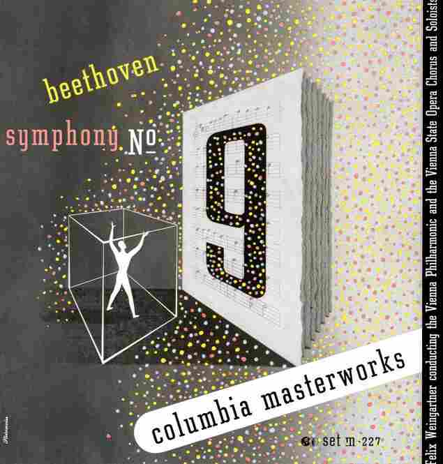 Steinweiss' cover for a 1944 recording of the Beethoven Ninth Symphony with the Vienna Philharmonic, the Vienna State Opera Chorus and conductor Felix Weingartner.