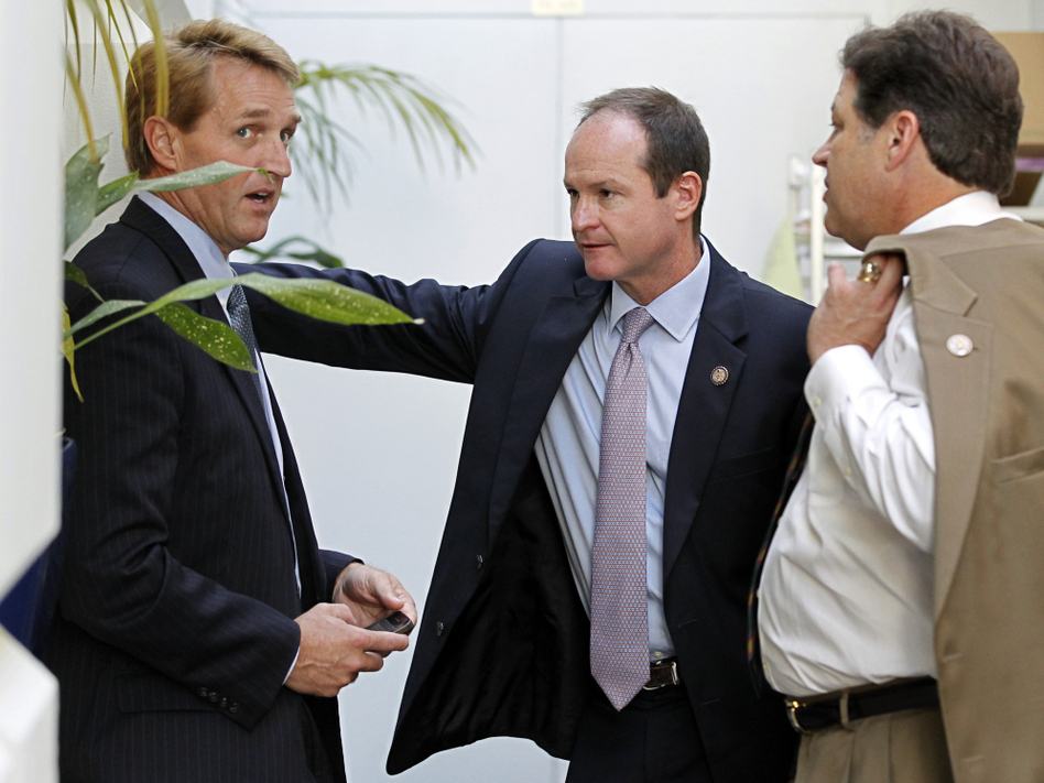 "Republican congressmen Jeff Flake of Arizona, (l) a publicly announced ""no"" vote; John Sullivan of Oklahoma (c), and Bill Shuster of Pennsylvania, Wednesday, July 27, 2011. (AP)"