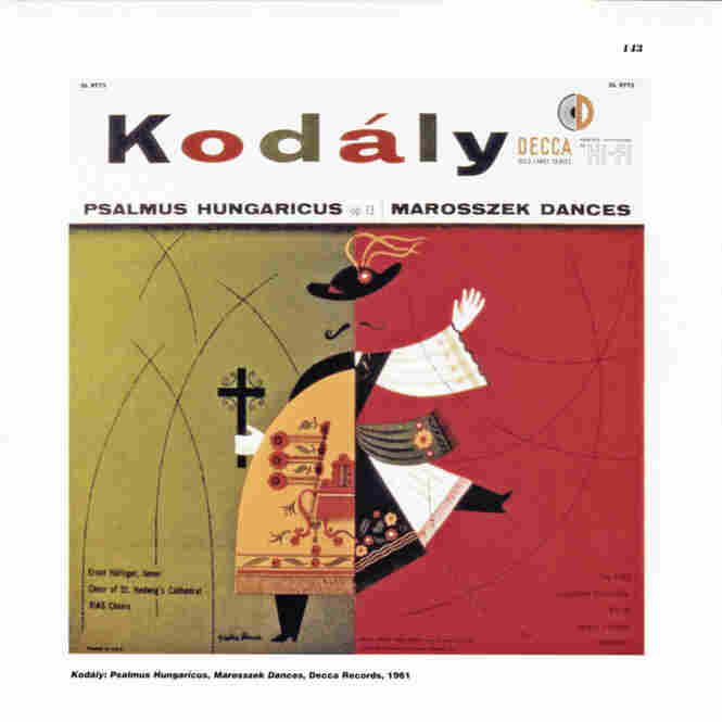 The 1955 cover for a Ferenc Fricsay-led recording of Kodaly which  charmingly integrates Eastern European folk art in a modern context.