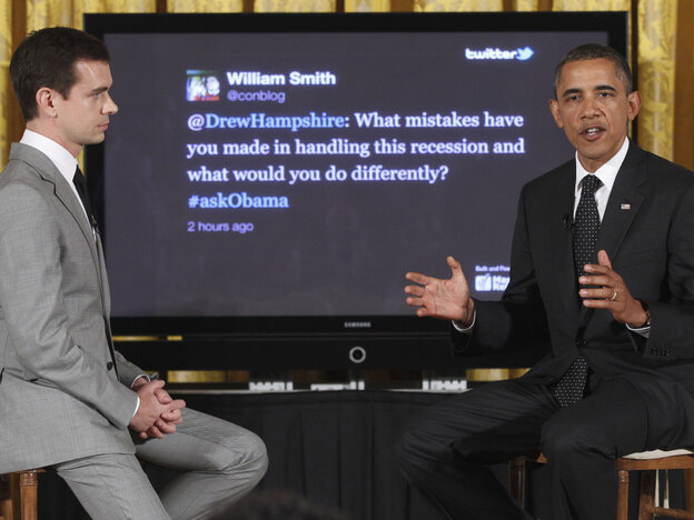 President Obama with Twitter co-founder and Executive Chairman Jack Dorsey at this first Twitter town hall, Wednesday, July 6, 2011.