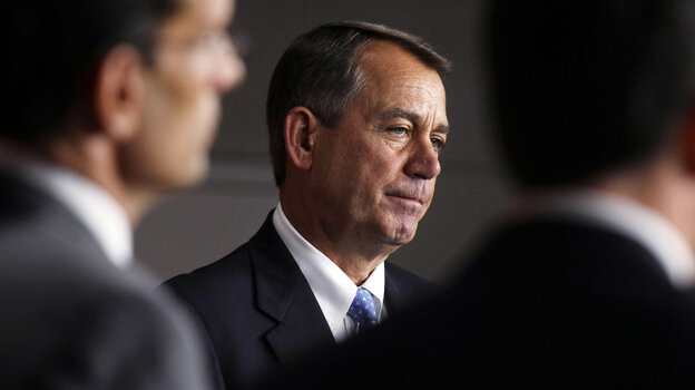 House Speaker John Boehner (R-OH) attended a news conference Thursday in Washington, hours before Republicans were forced to postpone a vote on his debt-ceiling legislation.