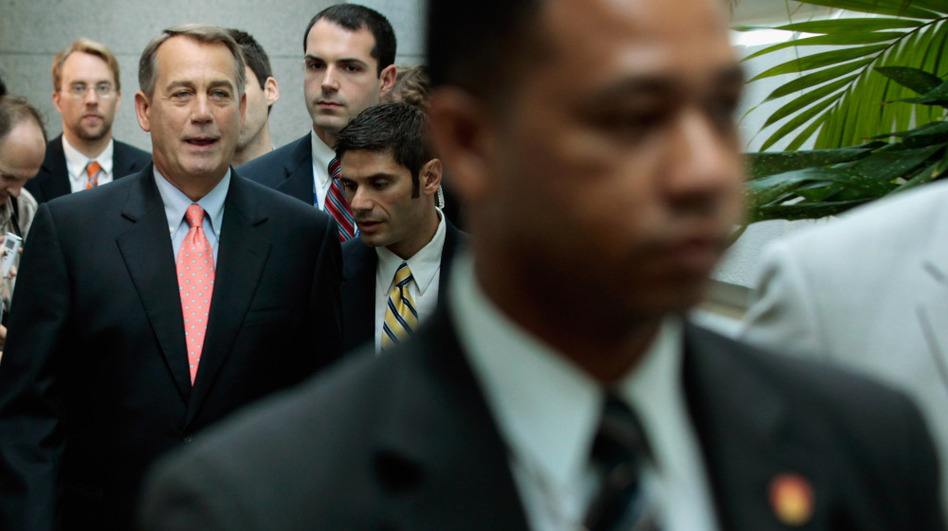 Speaker of the House John Boehner  walks to a House GOP caucus meeting July 29, 2011 in Washington, DC. (Getty Images)