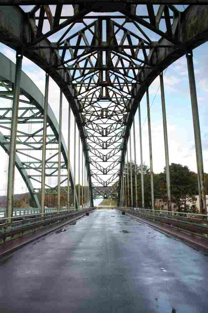 A steel bridge built in 1937 spans the Connecticut River, connecting Chesterfield, N.H., and Brattleboro, Vt.
