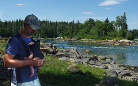 Finn and his dad, at home on the island of Vinalhaven, Maine.