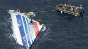 Brazilian sailors recover debris from Air France Flight 447 in the Atlantic Ocean on June 8, 2009.
