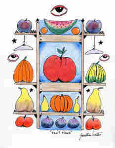 "Jonathan Winters' drawing ""Fruit Stand"" features his trademark eyes, coat hangers and fruit."