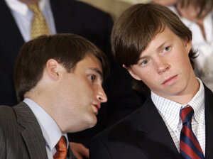 """Former Duke lacrosse players Dave Evans, left, and Collin Finnerty speak during a news conference in Raleigh, N.C., Wednesday, April 11, 2007. Prosecutors dropped all charges against the three Duke lacrosse players accused of sexually assaulting a stripper at a party, saying the athletes were innocent victims of a """"tragic rush to accuse"""" by an overreaching district attorney."""