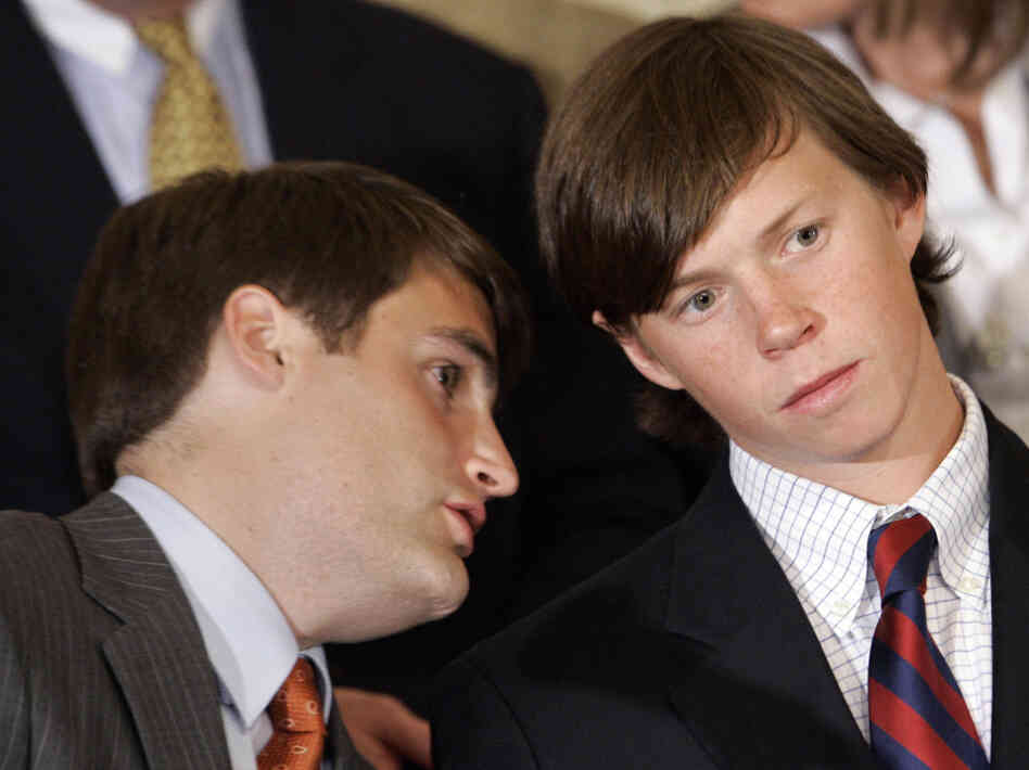 "Former Duke lacrosse players Dave Evans, left, and Collin Finnerty speak during a news conference in Raleigh, N.C., Wednesday, April 11, 2007. Prosecutors dropped all charges against the three Duke lacrosse players accused of sexually assaulting a stripper at a party, saying the athletes were innocent victims of a ""tragic rush to accuse"" by an overreaching district attorney."