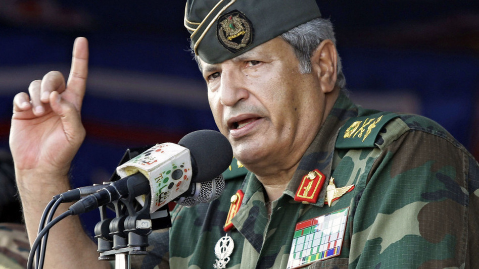 In this photo taken July 6, rebel forces chief commander Abdel Fattah Younes speaks during a rally in the rebel-held city of Benghazi, Libya. Libya's rebel leadership council announced the death of Younes on Thursday, hours after he was arrested by the rebels for questioning about suspicions his family still had ties to Moammar Gadhafi's regime.