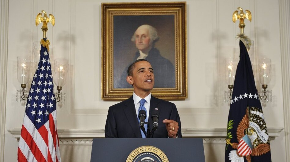 President Obama speaks on the status of debt ceiling negotiations on Friday in the Diplomatic Reception Room of the White House in Washington, DC. (AFP/Getty Images)