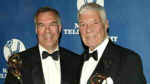 NFL filmmakers Steve Sabol (left) and Ed Sabol attend the 25th Annual Sports Emmy Awards April 19, 2004, in New York City. Ed Sabol will be inducted into the Pro Football Hall of Fame next week.