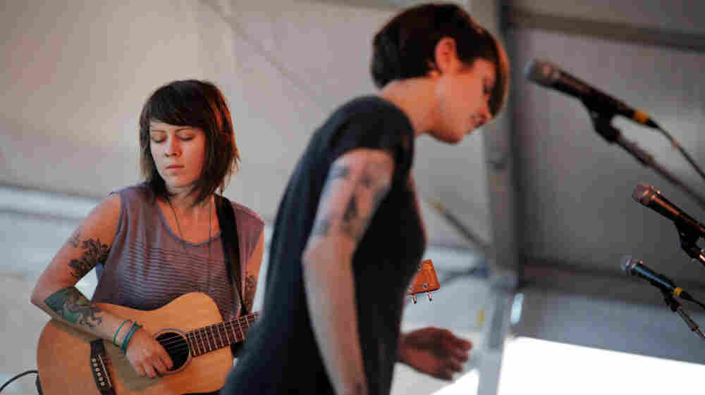 Tegan and Sara perform at the 2011 Newport Folk Festival.