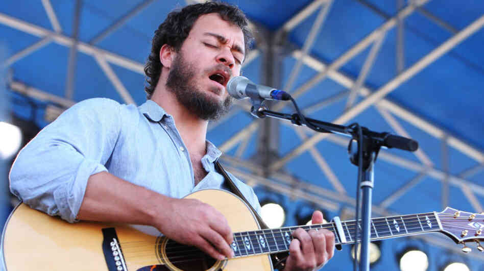 Amos Lee performs at the 2011 Newport Folk Festival.