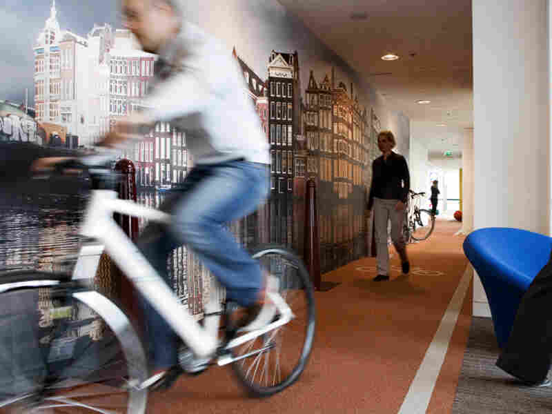 Google's Netherlands Office has an indoor bike lane.