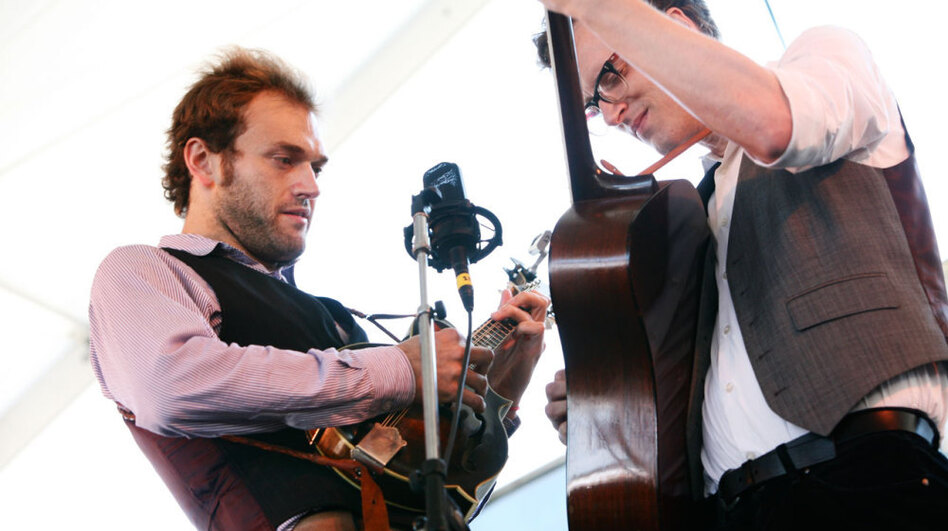 Chris Thile and Michael Daves perform at the 2011 Newport Folk Festival. (Shantel Mitchell for NPR)