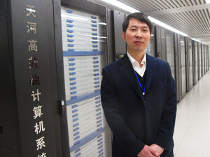 For six months, China's $60 million Tianhe-1A was the world's fastest supercomputer. Now, China is hoping to build on that achievement. Liu Guangming, director of the National Supercomputer Center in Tianjin, China, stands in front of the Tianhe-1A.