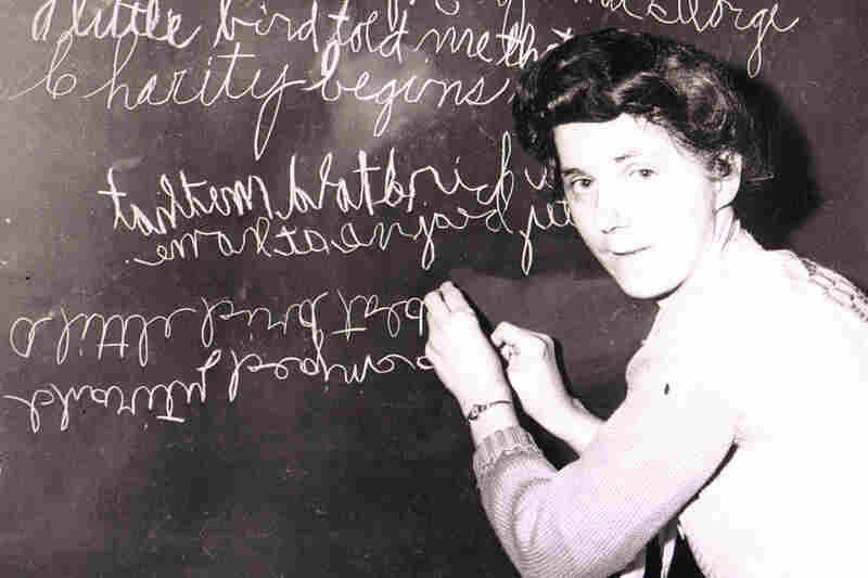Zelma George of Canton, Ohio, could write forwards, backwards, upside down — and could write a different sentence with each hand simultaneously, 1948.