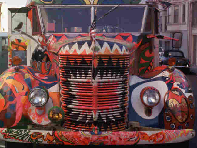 """Ken Kesey's bus, """"Further,"""" was an emblem of '60s counterculture. Painted by hand (and foot), the vehicle served as a temporary home for Kesey and his fellow hippies."""