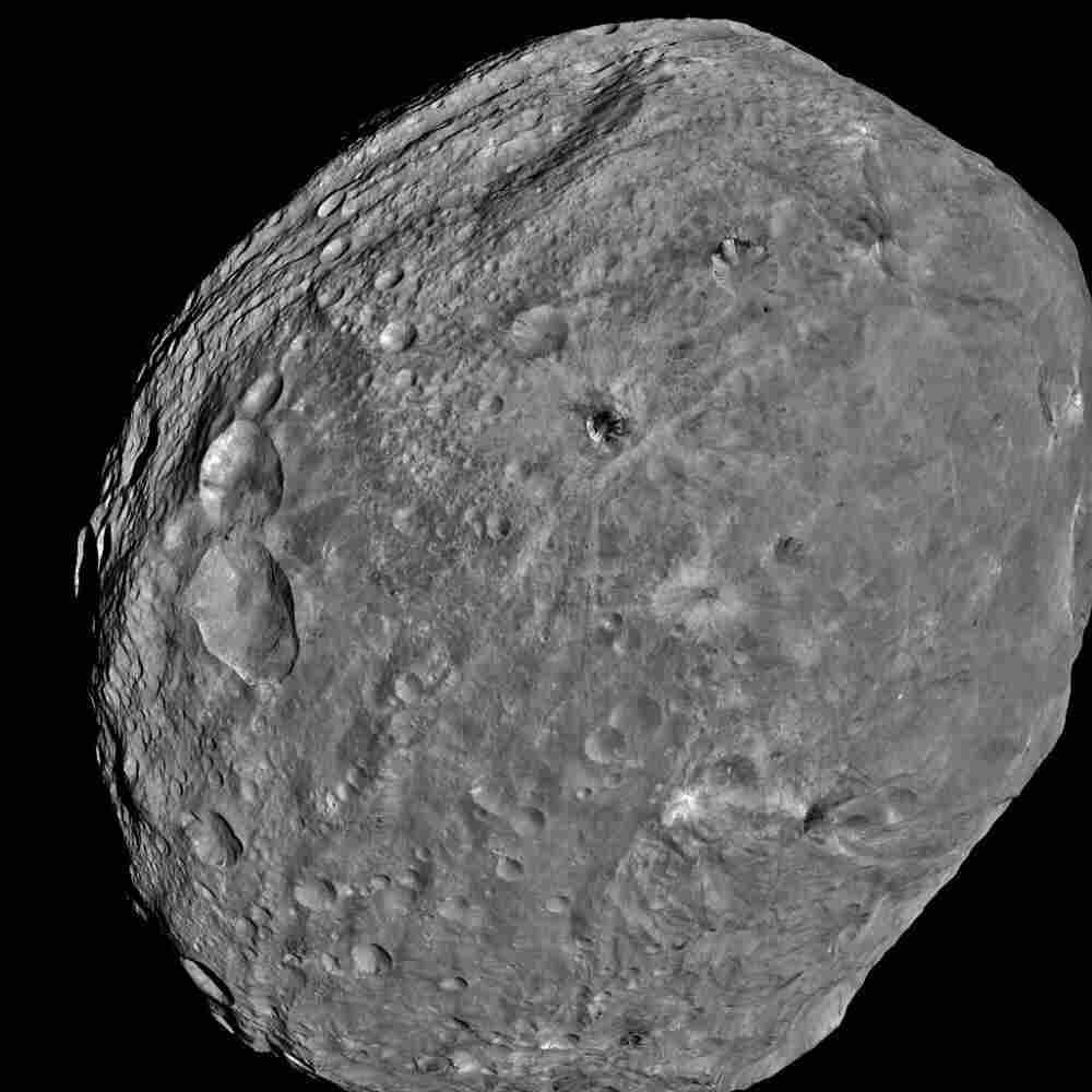 NASA's Dawn spacecraft obtained this image of the giant asteroid Vesta with its framing camera on July 24, 2011. It was taken from a distance of about 3,200 miles.