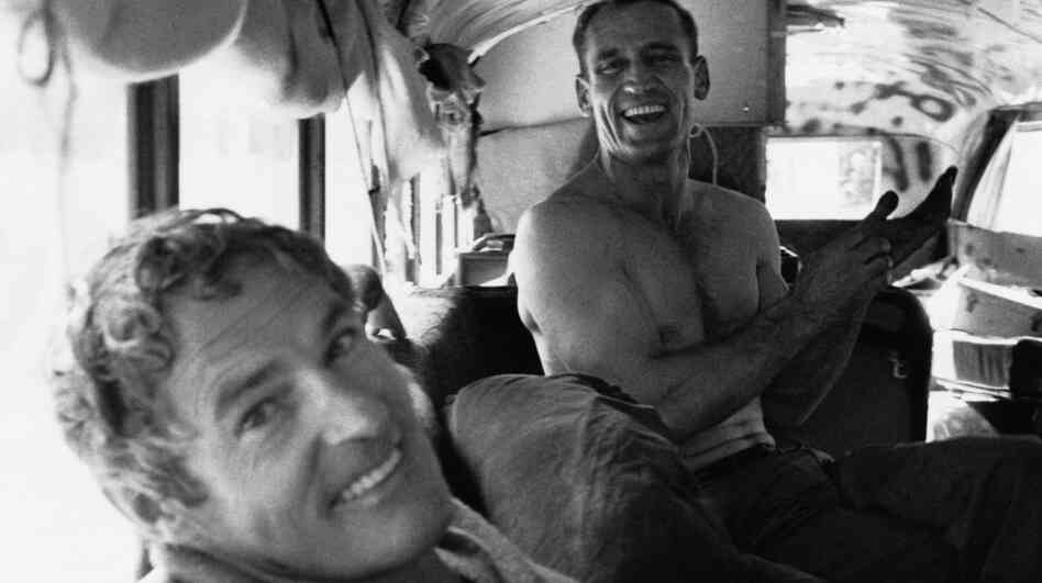"Road Warriors: Timothy Leary (left) and Neal Cassady, the inspiration for Dean Moriarty in Jack Kerouac's On the Road, were two of the Merry Pranksters onboard the psychedelic ""Further"" bus in 1964. Magic Trip tries to immortalize their journey to a larger extent than the film is able to support."