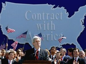 "Then-House Minority Whip Newt Gingrich during a 1994 rally where he pledged a ""Contract with America,"" which included a balanced budget amendment."