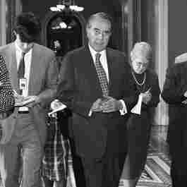 Senate Majority Leader Bob Dole on Capitol Hill on March 1, 1995, after he came up one vote short in his quest to pass a balanced budget amendment in the Senate.