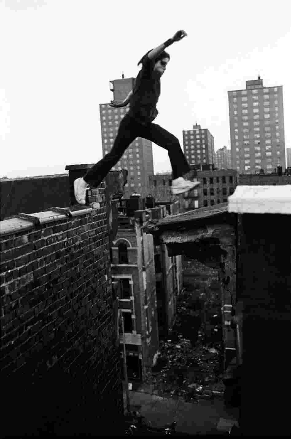 Rafael, 13, jumps between buildings, eight stories up,   1977