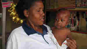 Dorothy Mwesiga with her third child. Mwesiga was treated with antidepressant drugs and talk therapy for her postpartum depression.