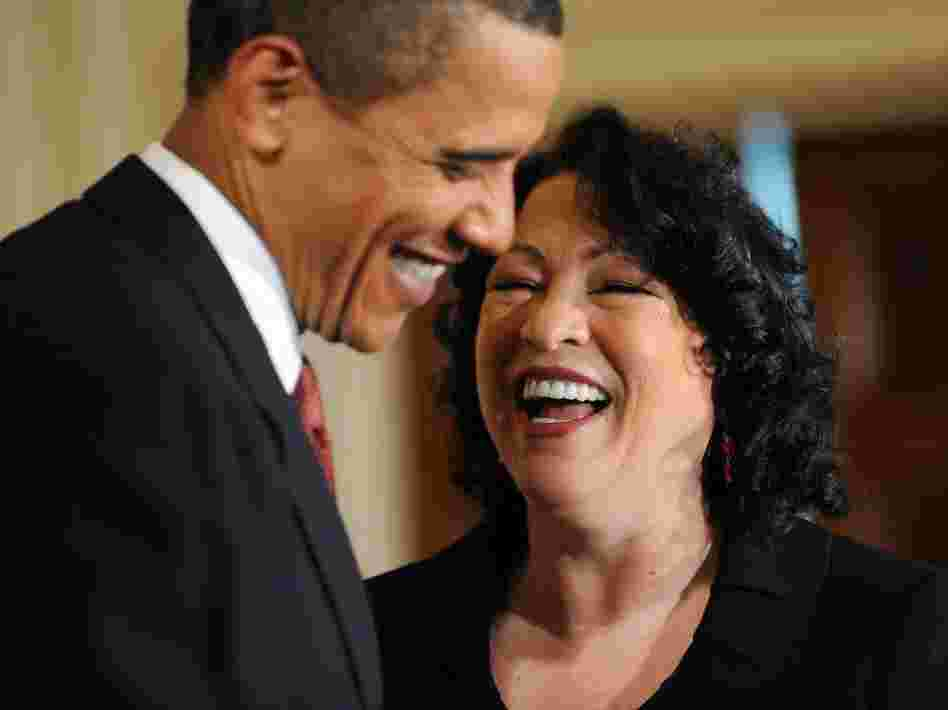 Justice Sonia Sotomayor, shown with President Obama in this file photo, became the first Hispanic Supreme Court justice during the Obama administration, one of a number of judicial diversity milestones the White House has made.
