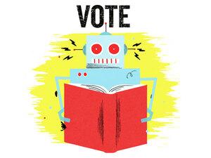 Illustration: A robot reads a book.