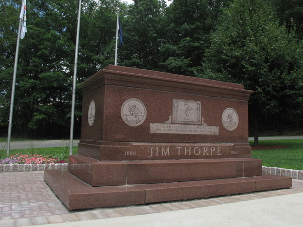 Jim Thorpe's rose-colored granite tomb sits alongside Pennsylvania Route 903 in Jim Thorpe, Pa.