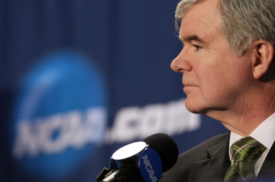 NCAA President Mark Emmert address the media during a press conference before the second round of the 2011 NCAA men's basketball tournament at the Verizon Center on March 17 in Washington, D.C. (Nick Laham/Getty Images)