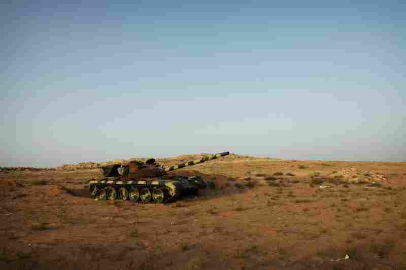 A destroyed T-64 that belonged to Gadhafi's forces sits in a field on the outskirts of Zintan — the closest Gadhafi's forces came to the city.