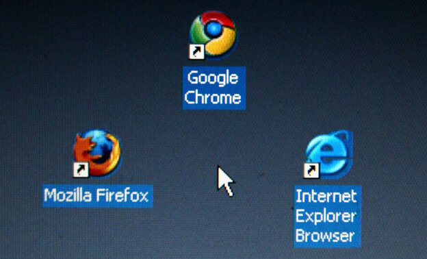 In this photo illustration Google's Chrome browser shortcut, Google Inc.'s new Web browser, is displayed next to Mozilla Firefox shortcut and Microsoft's Internet Explorer browser shortcut, on an laptop.   (Photo Illustration by Alexander Hassenstein/Getty Images)