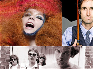 Clockwise from top left: Bjork, Andrew Bird, R.E.M.