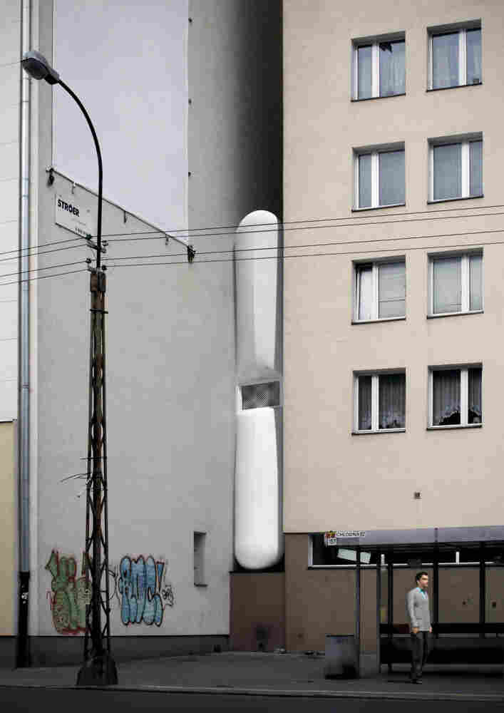 Illustration of the narrowest house in Warsa, Poland.