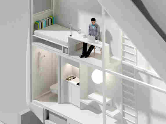 Inside the Keret house.