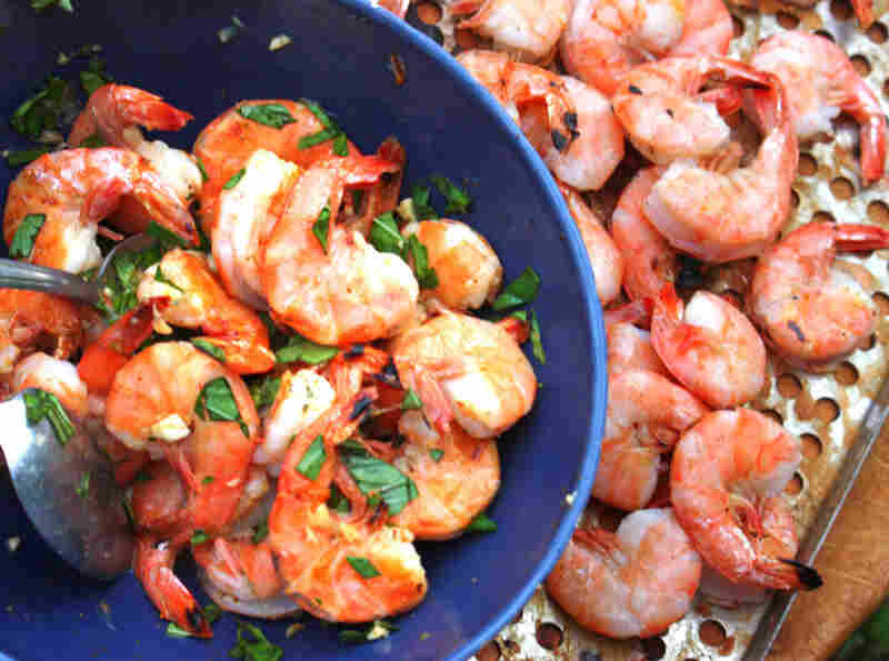Grilled Peel 'N' Eat Shrimp With Old Bay, Basil And Lemon