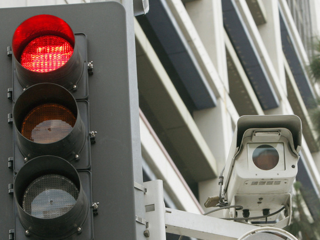 One of Los Angeles' 32 red light cameras.