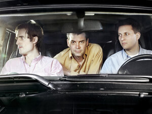 Battles' second album, Gloss Drop, is its first as a trio. Left to right: Ian Wiiliams (guitar, keyboards), John Stanier (drums), Dave Konopka (bass, guitar, effects).