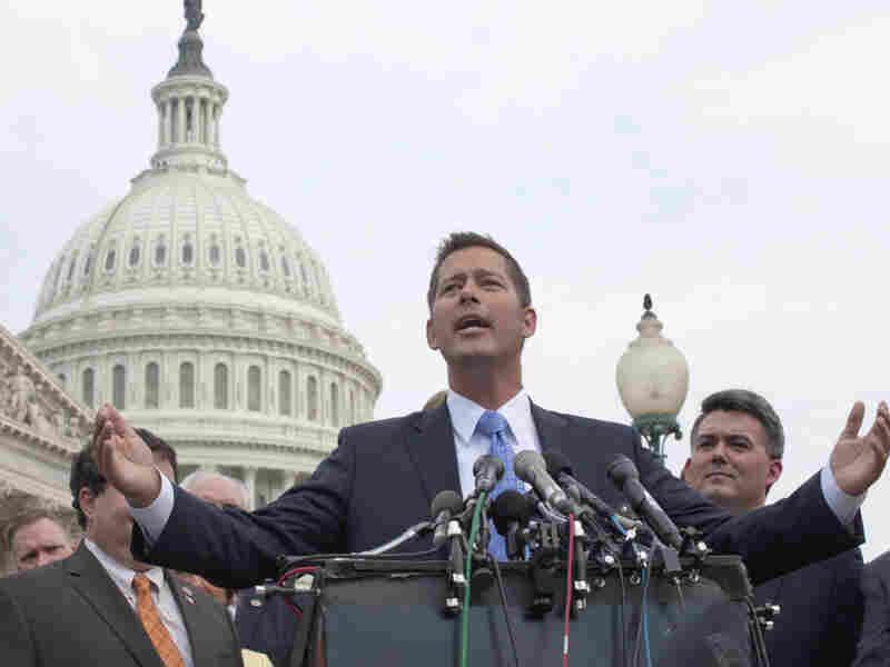 """Rep. Sean Duffy (R-WI), gestures during a news conference July 28 on Capitol Hill, where House Republican freshmen announced they would vote """"yes"""" on a GOP plan to raise the debt limit. Duffy and other GOP House freshmen exhibited an extraordinary amount of sway in the days leading up to the extension of the federal debt ceiling."""
