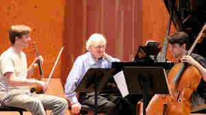 Violinist David McCarroll, pianist Richard Goode and cellist Andrew Janss rehearse Brahms at the 2011 Marlboro Festival in Vermont.