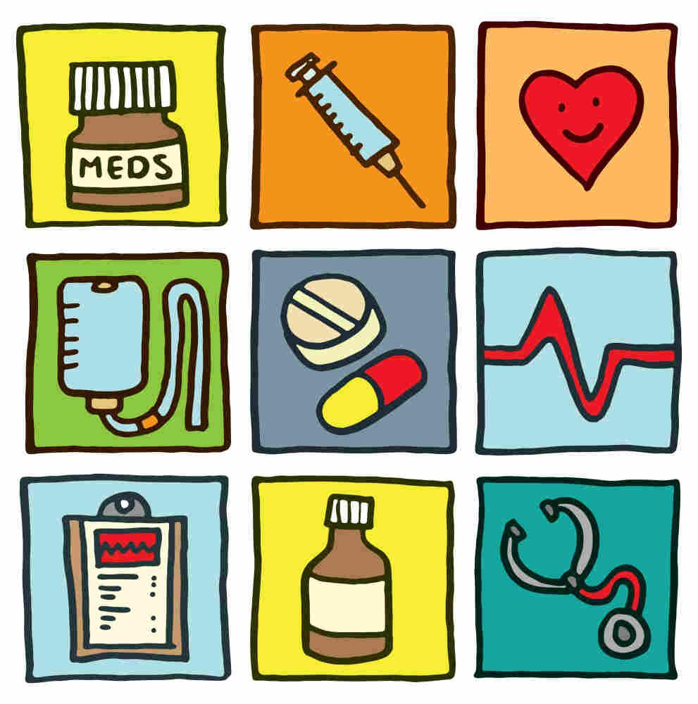 Illustration of medical symbols.