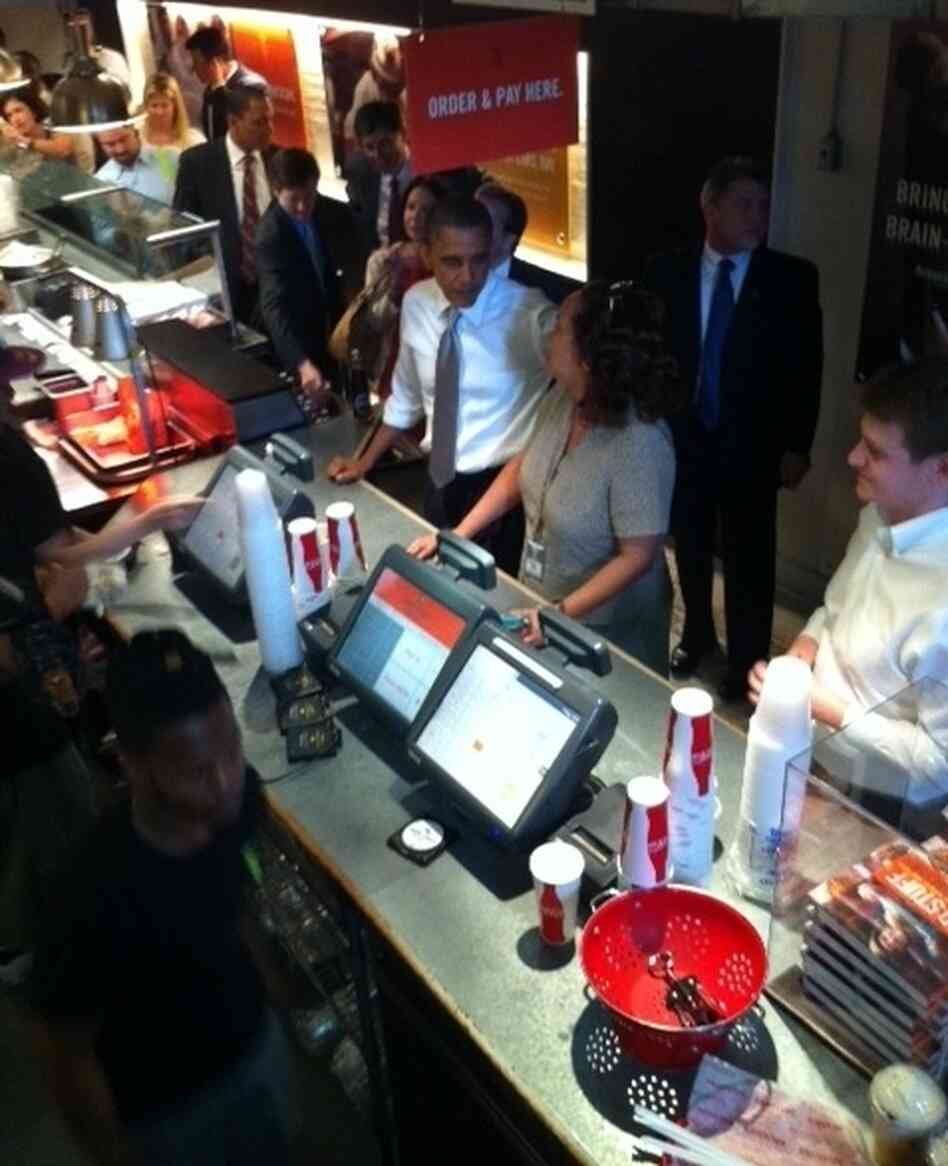 President Obama took some White House staffers to lunch at a nearby eatery.
